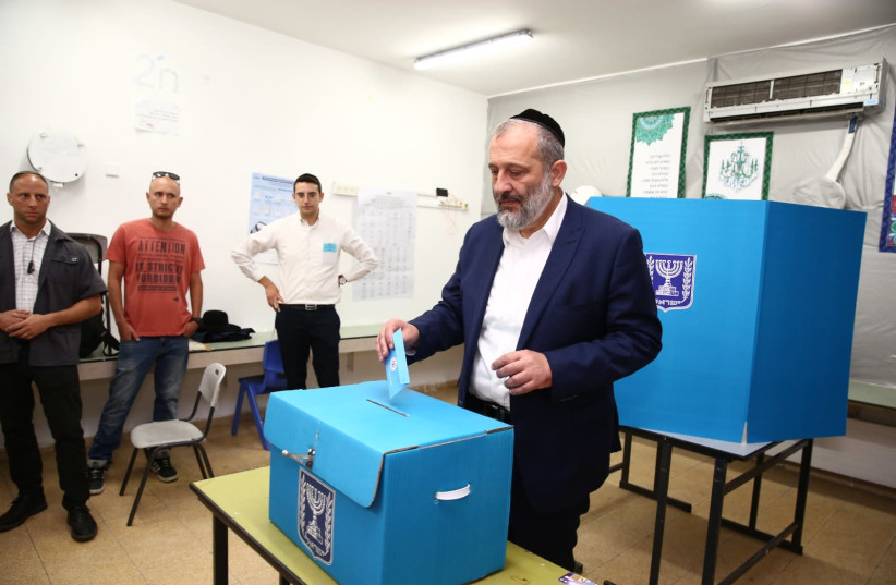 Shad leader and Minister of the Interior, Ayreh Deri casts his vote in Har Nof, Jerusalem, September 17 2019 (photo credit: SHAS)