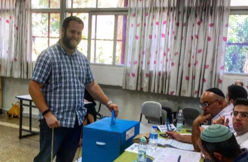 Chaim Zalman Hutz votes in Jerusalem for the first time. (photo credit: Courtesy)
