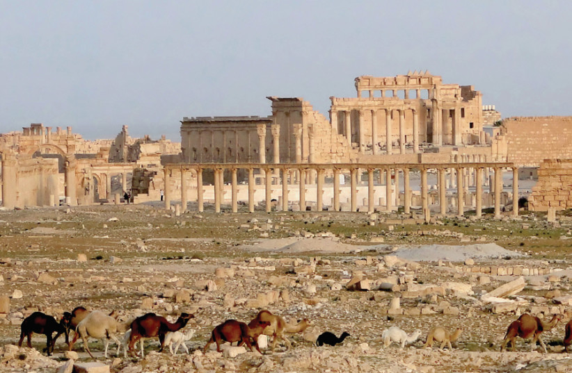 ARCHEOLOGY, PROPAGANDA and politics intersect: View of Palmyra with the Temple of Bel, April 2010. (photo credit: Wikimedia Commons)
