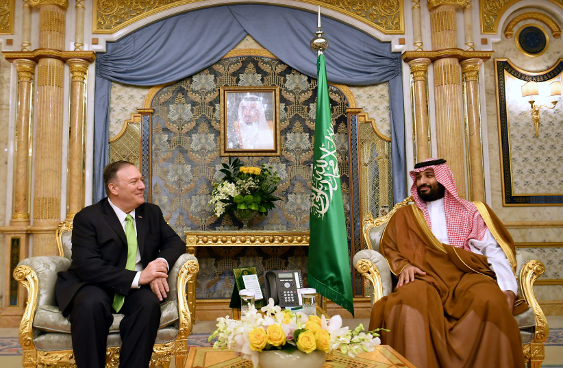 U.S. Secretary of State Mike Pompeo takes part in a meeting with Saudi Arabia's Crown Prince Mohammed bin Salman in Jeddah, Saudi Arabia, September 18, 2019 (photo credit: MANDEL NGAN/POOL/REUTERS)