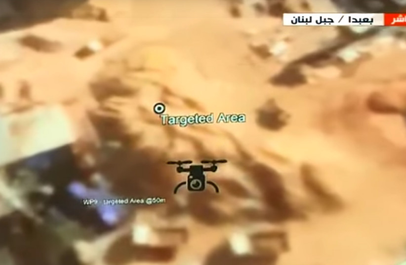Flight path simulation by Lebanon Defense Minister of drone attack on Beirut in August (photo credit: AL-MAYADEEN YOUTUBE SCREENSHOT)