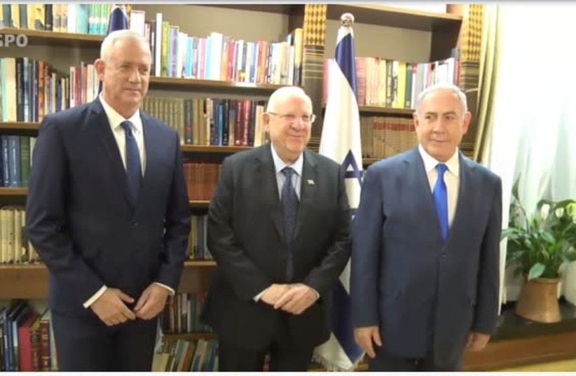 Reuven Rivlin, Benny Gantz and Benjamin Netanyahu meet on September 23, 2019. (photo credit: GPO)