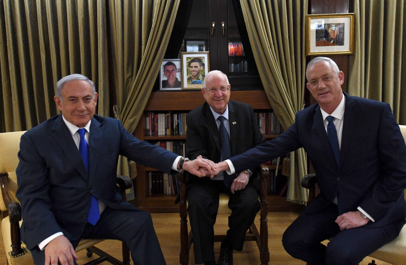 Reuven Rivlin, Benny Gantz and Benjamin Netanyahu meet on September 23, 2019. (photo credit: HAIM ZACH/GPO)
