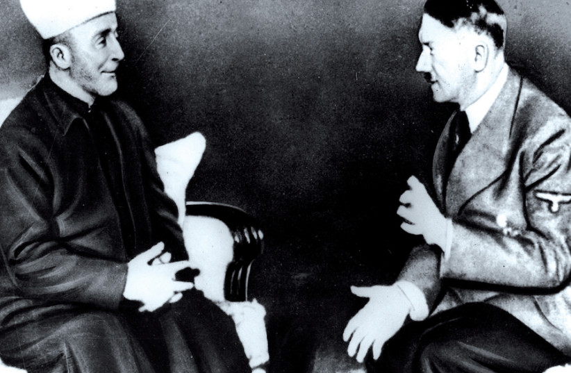 Haj Amin al-Husseini, the grand mufti of Jerusalem, meeting with Adolf Hitler in 1941 (photo credit: JERUSALEM POST ARCHIVE)