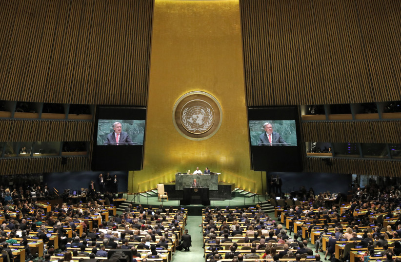 United Nations Secretary General Antonio Guterres addresses the opening of the 74th session of the United Nations General Assembly  (photo credit: REUTERS/LUCAS JACKSON)