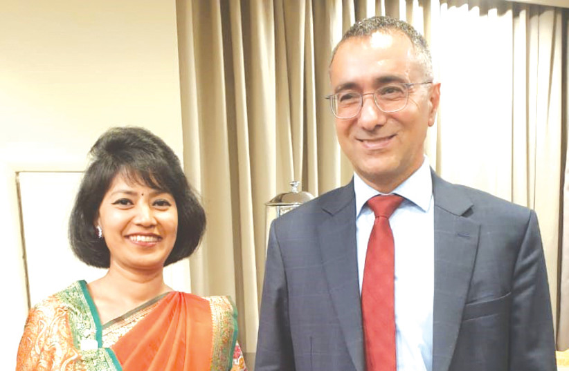 ANJAN SHAKYA, the ambassador of Nepal, with Gilad Cohen, deputy director-general for Asia and the Pacific at the Foreign Ministry.  (photo credit: Courtesy)