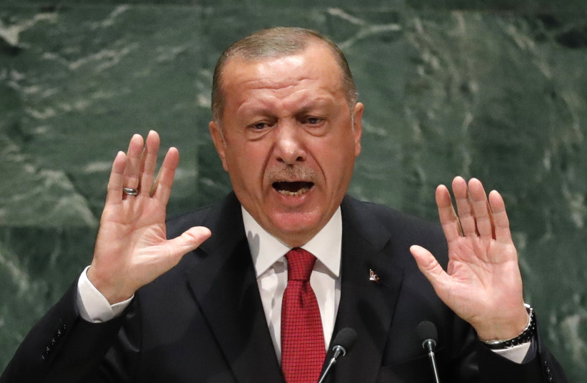 Turkey's President Recep Tayyip Erdogan addresses the 74th session of the United Nations General Assembly at U.N. headquarters in New York City, New York, U.S. (photo credit: REUTERS)