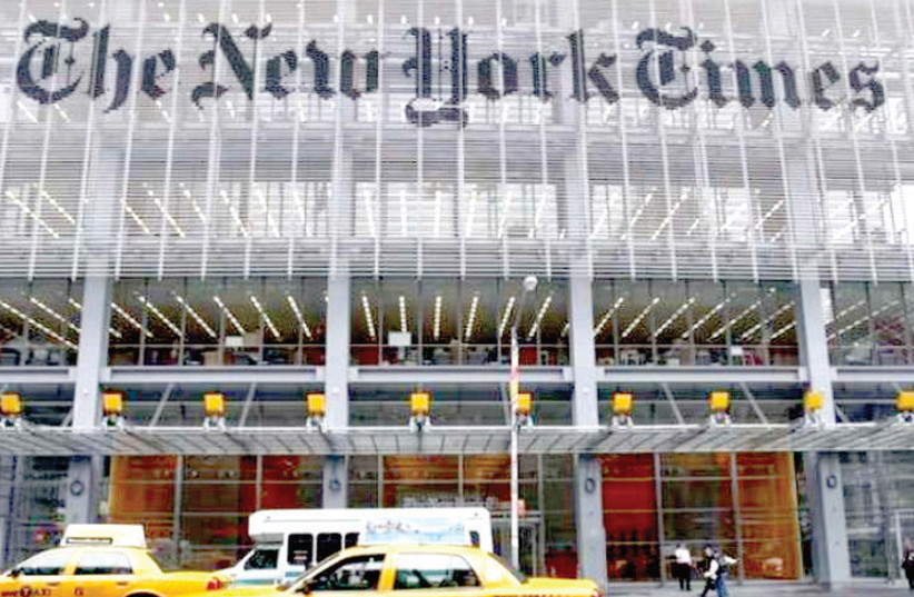 THE HEADQUARTERS of 'The New York Times' on 8th Avenue in the eponymous city. (photo credit: REUTERS)
