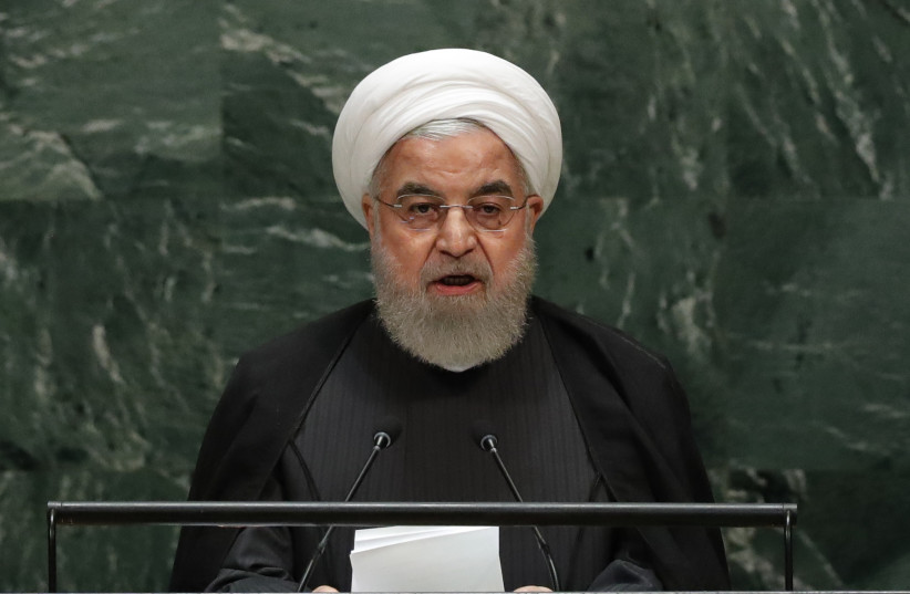 Iran's President Hassan Rouhani addresses the 74th session of the United Nations General Assembly at U.N. headquarters in New York City, New York, U.S., September 25, 2019 (photo credit: REUTERS/LUCAS JACKSON)