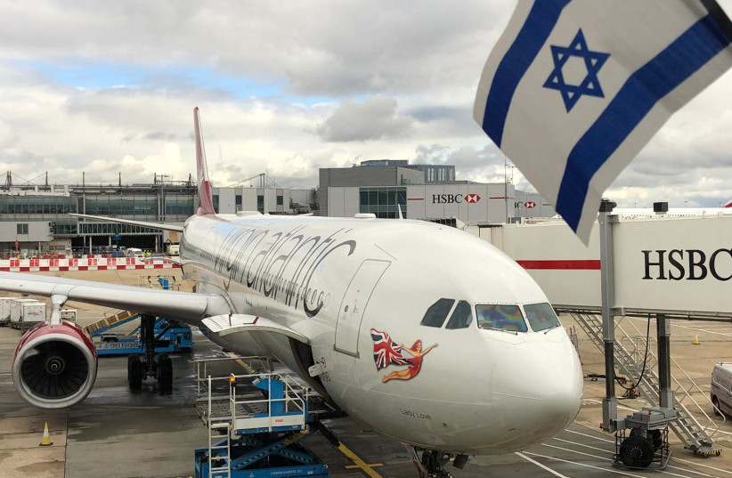 A Virgin Atlantic plane prepares for its flight to Ben-Gurion Airport from Heathrow in London. (photo credit: OFER LEVY)