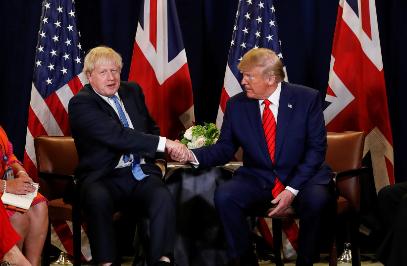 U.S. President Donald Trump holds a bilateral meeting with British Prime Minister Boris Johnson on the sidelines of the annual United Nations General Assembly in New York City, New York, U.S., September 24, 2019 (photo credit: REUTERS/JONATHAN ERNST)