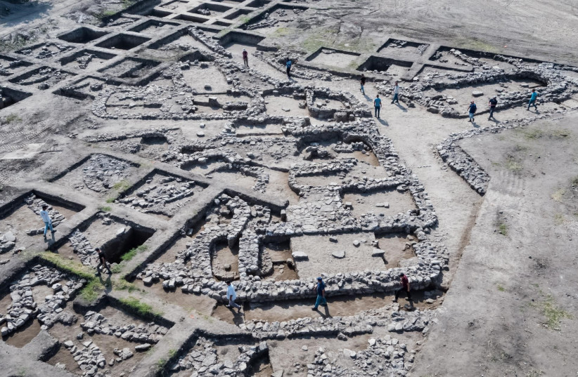 Aerial photograph of the excavation site, Ein Assur, northern Israel (photo credit: ASSAF PEREZ/ISRAEL ANTIQUITIES AUTHORITY)
