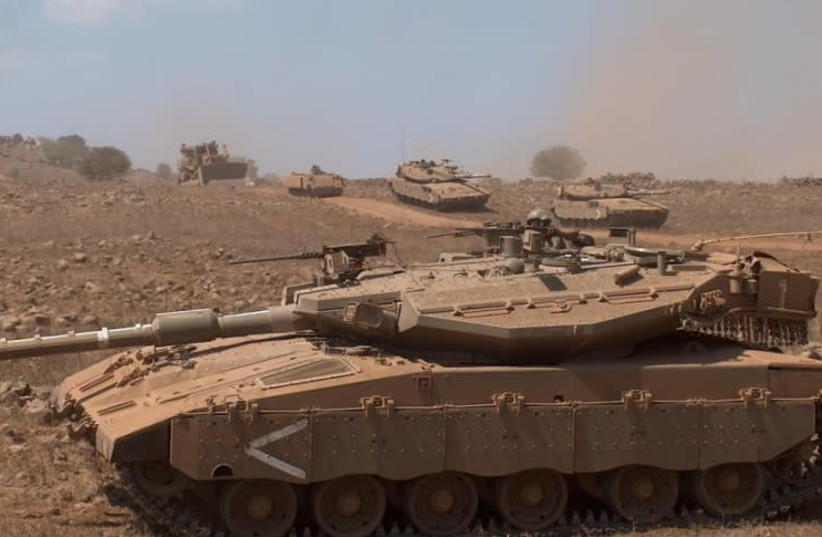 Ground forces, Caterpillar D9 bulldozer and Merkava MkIII Baz tanks of Armoured Brigade 188 (photo credit: LIOR34/ISRAEL'S MILITARY AND SECURITY FORUM OF FRESH)