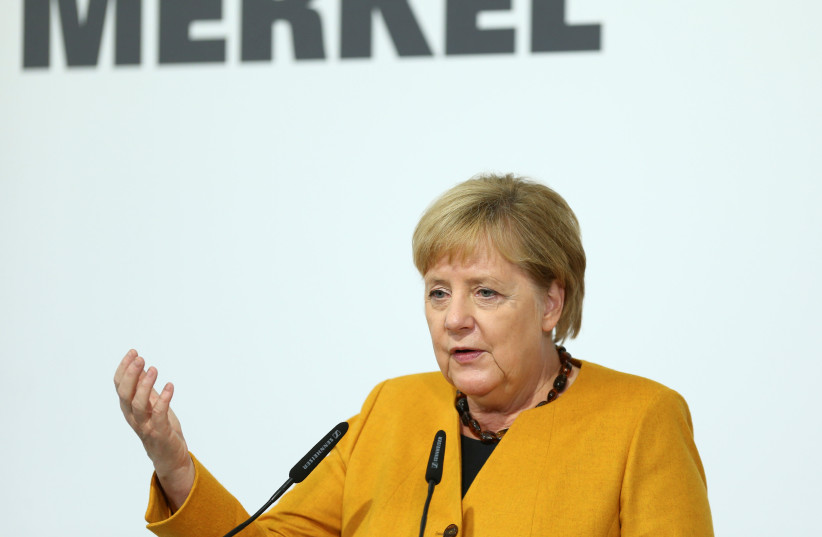 erman Chancellor Angela Merkel speaks during her visit of Herrenknecht AG in Schwanau, Germany, October 7, 2019 (photo credit: REUTERS/RALPH ORLOWSKI)