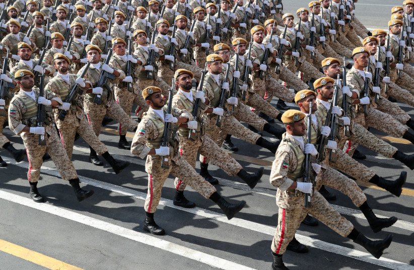 Iranian armed forces members march during the ceremony of the National Army Day parade in TeIranian armed forces members march during the ceremony of the National Army Day parade in Tehran, Iran September 22, 2019hran, Iran September 22, 2019 (photo credit: IRANIAN PRESIDENCY WEBSITE/HANDOUT VIA REUTERS)