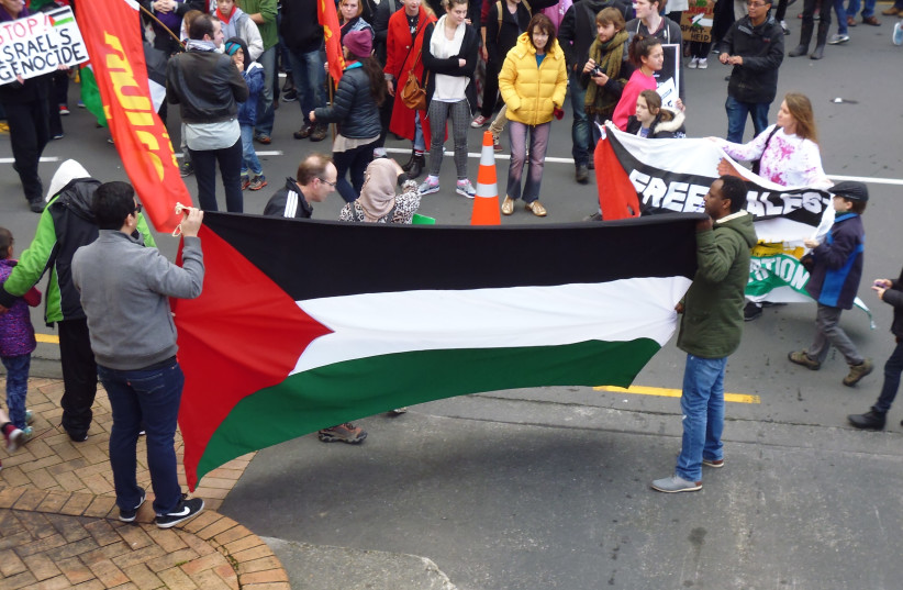 Marchers at an SJP-organized march in support of Gaza in Wellington, New Zealand (photo credit: Wikimedia Commons)