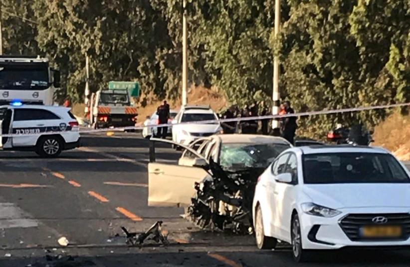 Car explosion on route 65 (photo credit: ALON HACHMON)