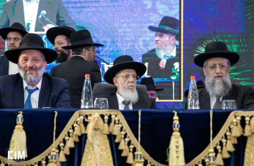 Spiritual leader of the Shas party Rabbi Shalom Cohen (center), flanked by Shas party chairman and Interior Minister Aryeh Deri (left), and Rabbi David Yosef (right) (photo credit: KIM EVENTS PHOTOGRAPHY)