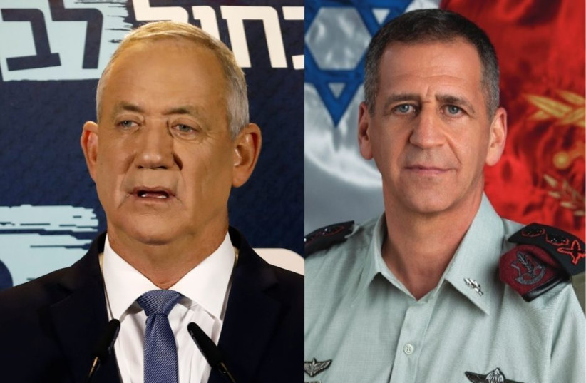 Blue and White leader Benny Gantz and IDF Chief of Staff Aviv Kochavi (photo credit: IDF SPOKESPERSON'S UNIT)