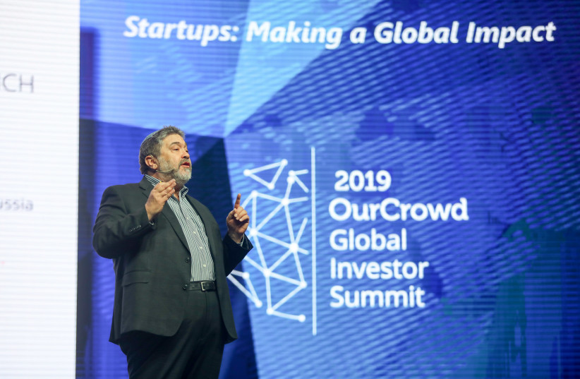 OurCrowd founder & CEO Jon Medved addresses the 2019 OurCrowd Global Investor Summit, March 7, 2019 (photo credit: NOAM MOSKOWITZ)