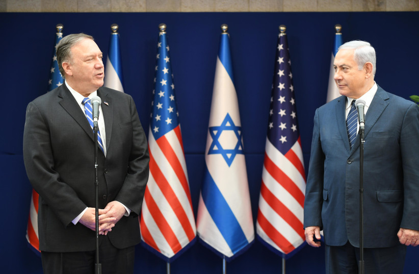 US Secretary of State Mike Pompeo and Prime Minister Benjamin Netanyahu meet in Jerusalem, October 18 2019 (photo credit: AMOS BEN-GERSHOM/GPO)