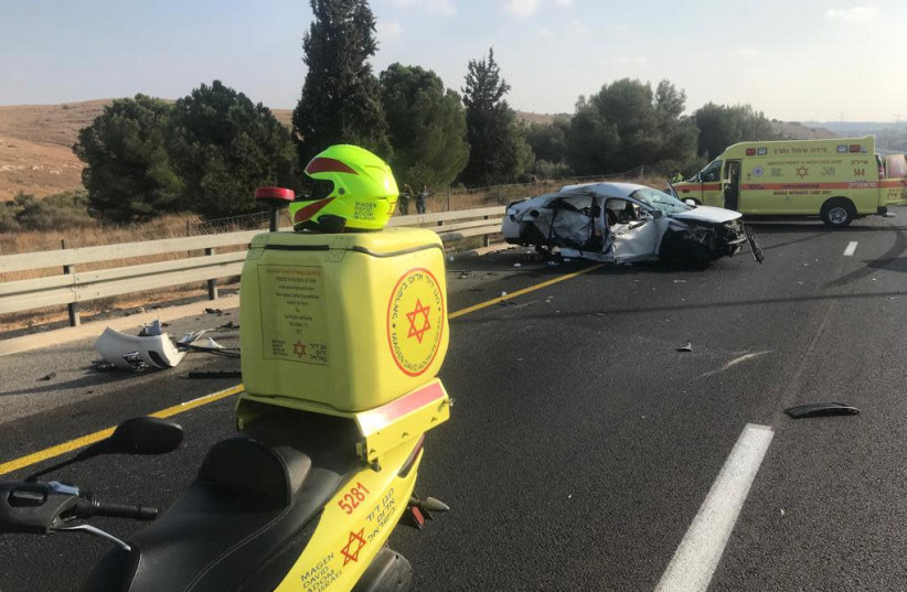 A deadly car crash on Israel's Route 6. (credit: MDA)