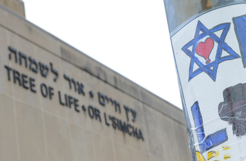 The facade of the Tree of Life synagogue, where a mass shooting occurred last Saturday, in Pittsburgh, Pennsylvania, U.S., November 3, 2018 (photo credit: ALAN FREED/REUTERS)