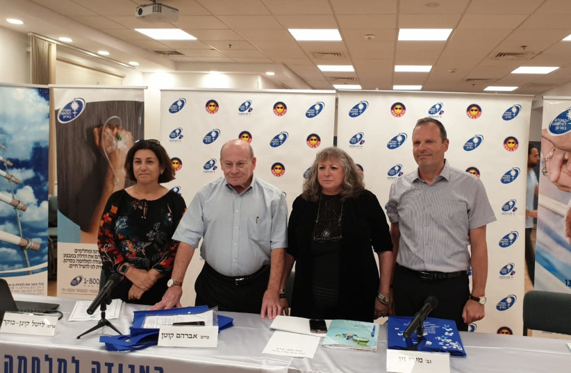Press conference held by the Israel Cancer Association and the Ministry of Health, October 23, 2019 (photo credit: ISRAEL CANCER ASSOCIATION SPOKESPERSON)