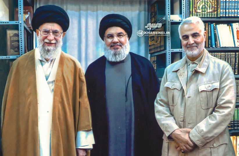 Iran Supreme Leader Ayatollah Ali Khamenei with Hezbollah Secretary General Hassan Nasrallah and IRGC Quds Force Commander Qasem Soleimani (photo credit: KHAMENEI.IR)