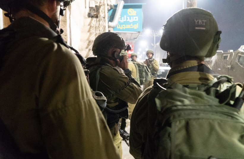 IDF soldiers at the demolition of Islam Yousef Abu Hamid's home al-Am'ari refugee camp, October 24 2019 (photo credit: IDF SPOKESPERSON'S UNIT)
