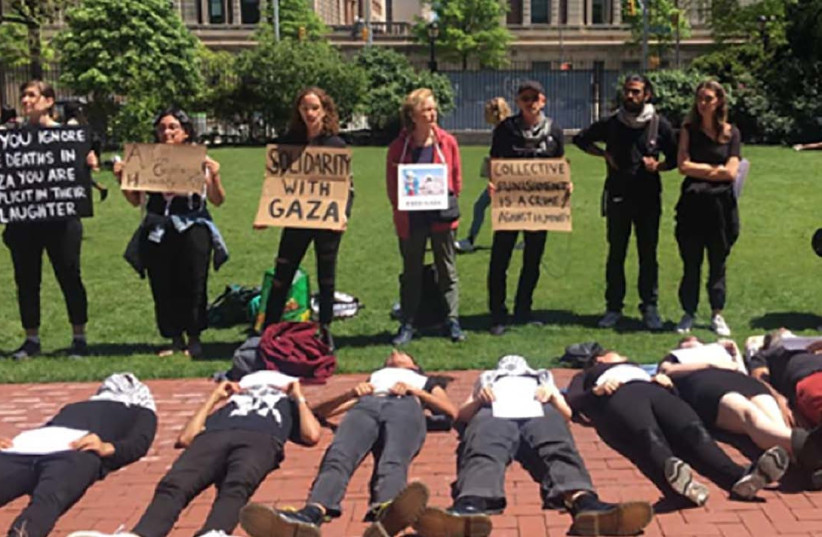 "Students at Columbia University hold a ""die-in"" demonstration (photo credit: ACF)"