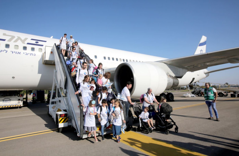 New immigrants from France disembark at Ben-Gurion Airport last year (photo credit: MARC ISRAEL SELLEM)