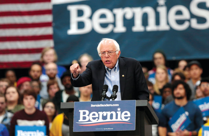 BERNIE SANDERS, one of several US Democratic candidates who spoke at J Street.  (photo credit: REUTERS)