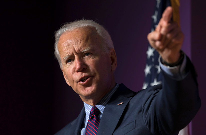 Democratic presidential candidate and former Vice President Joe Biden speaks at the 2019 Second Step Presidential Justice Forum at Benedict College in Columbia, South Carolina, U.S. October 26, 2019 (photo credit: REUTERS/SAM WOLFE)
