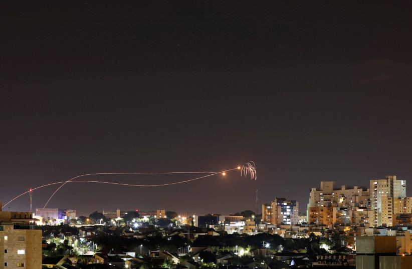 Iron Dome anti-missile system fires interception missiles as rockets are launched from Gaza towards Israel as seen from the city of Ashkelon, Israel Ashkelon November 1, 2019 (photo credit: REUTERS/ AMIR COHEN TPX IMAGES OF THE DAY)