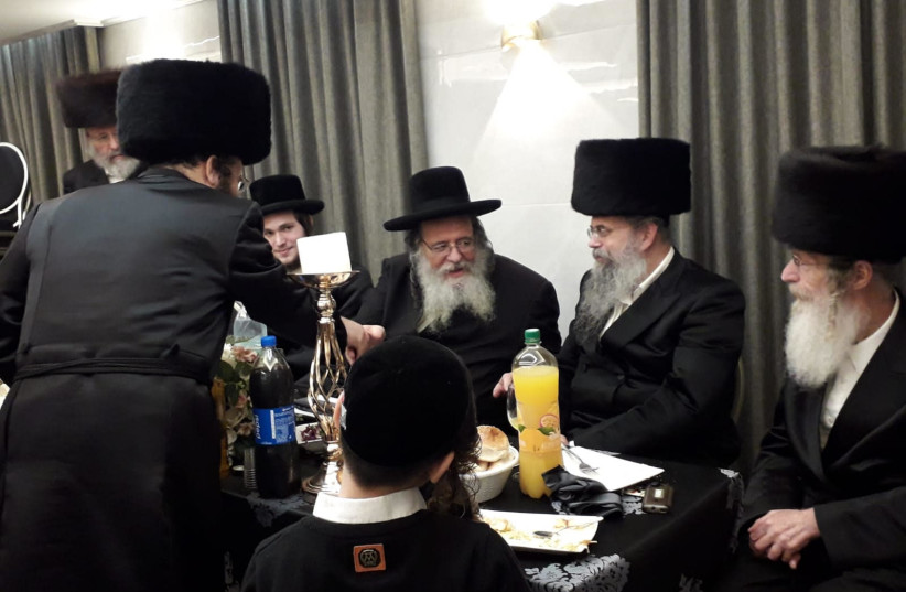 Rabbi Shaul Alter, head of a breakaway faction in the Gerrer hassidic community, at a celebration last week (photo credit: YOSSI CHULL)