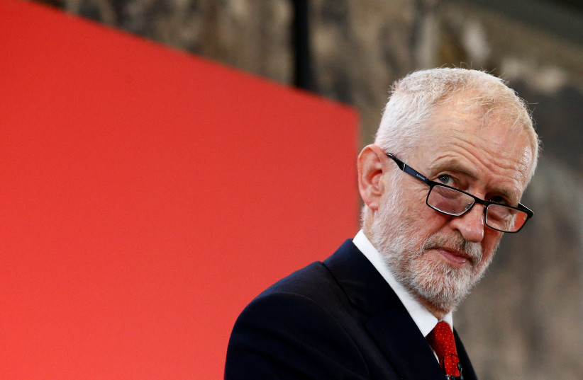Britain's opposition Labour Party leader Jeremy Corbyn reacts at a launch event for the Labour party's general election campaign in London, Britain October 31, 2019.  (photo credit: REUTERS/HENRY NICHOLLS)
