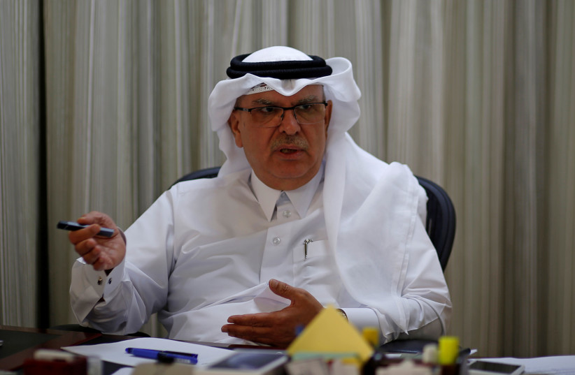 Qatari envoy Mohammed Al-Emadi gestures during an interview with Reuters in Gaza City, August 24, 2019 (photo credit: REUTERS/MOHAMMED SALEM)