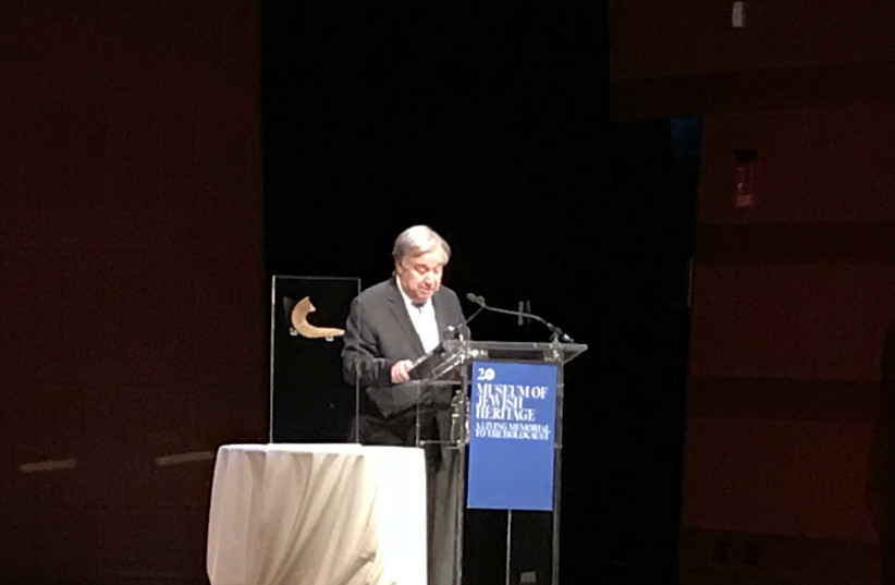 secretary-general of the United Nations António Guterres commemorates the 81st anniversary of Kristallnach in 2019. (photo credit: HALEY COHEN)