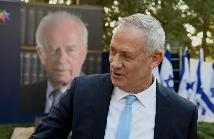 Blue and White leader Benny Gantz attends the memorial ceremony for Yitzhak Rabin, Jerusalem, November 10, 2019 (photo credit: REUVEN CASTRO)