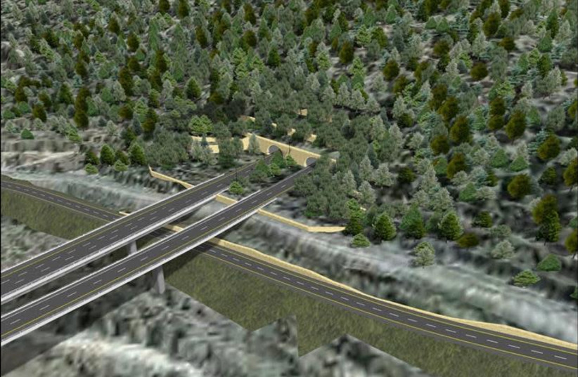 An illustration of a stretch of Route 16, a new entrance road to Jerusalem (photo credit: RDV SYSTEMS/MINISTRY OF FINANCE)
