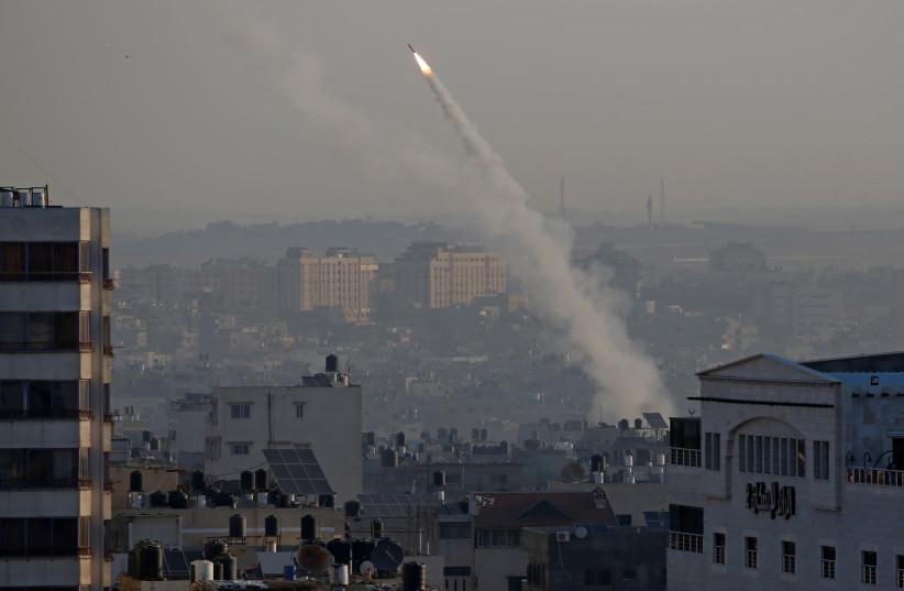 Rocket fired from Gaza toward Israel, November 12, 2019 (photo credit: REUTERS)