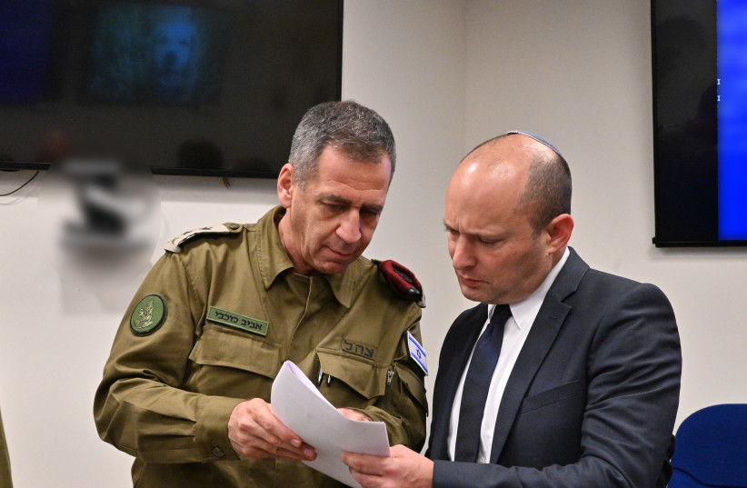 IDF Chief of Staff Lt.-Gen. Aviv Kochavi [L] with Defense Minister Naftali Bennett  (photo credit: ARIEL HERMONI / DEFENSE MINISTRY)