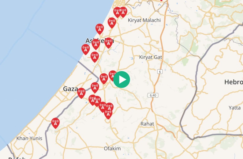 Map of rockets to hit Israel from Gaza on 11/13/19 (photo credit: GOOGLE MAPS)