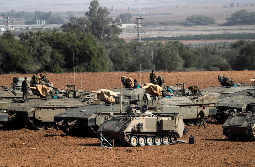 IDF tanks along the Gaza border  (photo credit: REUTERS)