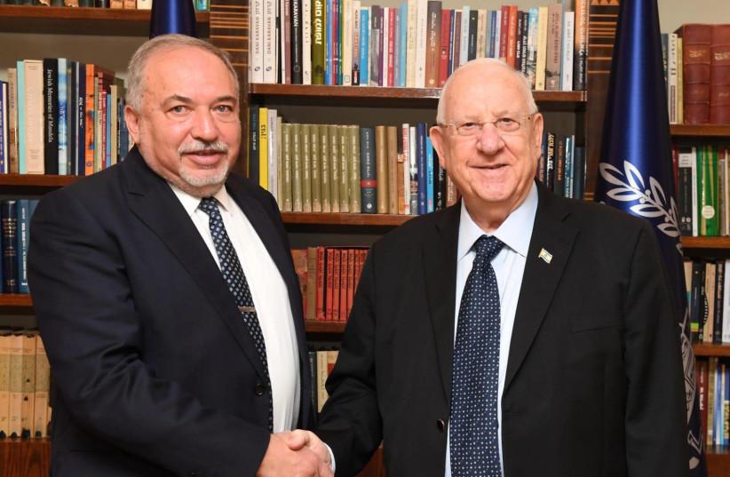 Yisrael Beteynu leader Avigdor Liberman meets with President Reuven Rivlin, November 13, 2019 (photo credit: Mark Neiman/GPO)