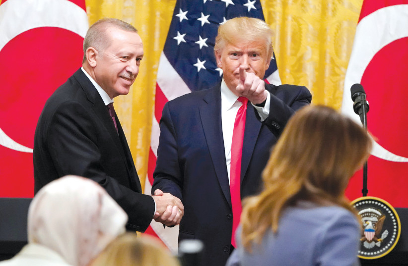 THE TURKISH President meets US President Donald Trump at the White House (photo credit: REUTERS)