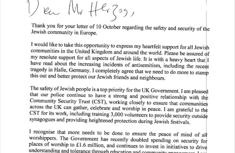 Letter sent by British PM, Boris Johnson to Jewish Agency Chairman, Isaac Herzog, November 2019 (photo credit: JEWISH AGENCY)