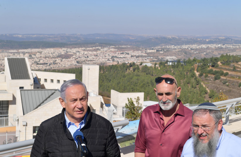 Netanyahu meets with settler leaders in Gush Etzion after the US stated that settlements are not illegal on November 19, 2019. (photo credit: GPO/KOBI GIDEON)