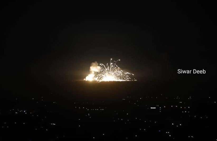 IAF attacks Syrian and Iranian targets in Syria, November 20, 2019 (photo credit: YEDIOT M'HASHETACH (TELEGRAM))